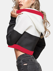 Active Cut Out Stitching Design Sports Hoodies in Black