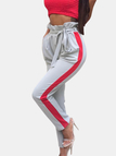 Active Contrast Color Stretch Waistband Sports Pants in Grey