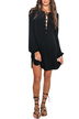 Lace-up Long Sleeve Dress in Black