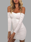 White Pleated Drawstring Off Shoulder Bodycon Dresses