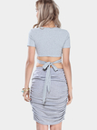 Grey Wrap Up V Neck Crop Top