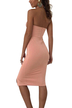 Sleeveless Front Split Halter Midi Dress in Pink