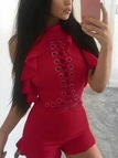 Red Lace-up Backless Design Sleeveless Playsuit