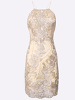 Halter Gold Thread Brodé Hollow Out Robe Backless