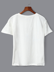 Casual Round Neck Letter Print Tee in White