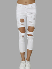 White High Waist Random Ripped Jeans