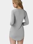 Grey Fleece Lined Pullover Curved Hem Bodycon Fit Dress