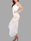 White Stitching Lace Irregular Hem Hollow Two Pieces Dress with Padded