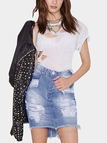 Sexy Package Buttocks Ripped details Irregular Denim Skirts