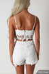 Sexy White V-neck Co-ord with Lace Details