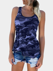 Camouflage Round Neck Y-back Sleeveless Top in Amethyst