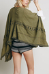 Army Green Cape with Fringed hem