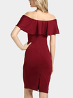 Burgundy Sexy Off Shoulder Flouncy Details Bodycon Dress
