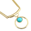 Golden Plated Double Chain Necklace With Blue Stone Pendant