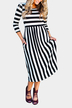 Black Stripe Patterin Round Neck 3/4 Length Sleeves Dress
