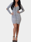 Gray Long Sleeves Bodycon Mini Dress with Zipper