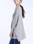 Oversized Batwing Sleeve Jumper in Grey