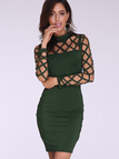 Army Green Casual Bodycon Round Neck Hollow Design Mini Dress