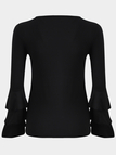 Black Cut Out Crew Neck Long Flounced Sleeves T-shirt