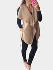 Khaki Lapel Collar Woolen Coat With Self-tie Waist