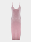 Pink Sexy V-neck Velvet Spaghetti Dress With Splited Hem