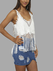 White Sexy V-neck Hollow Out Tassel Vest