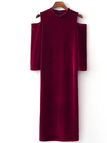 Bungundy Velvet Perkins Collar Cold Shoulder Bodycon Dress