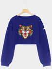 Dark Blue Animal Print  Cut Out Round Neck Crop Sweatshirt