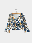 Cropped V Neck Floral Top