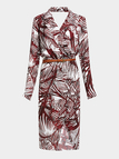 Belted Tropic Print Lapel Dress