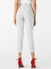 White Stripe Pattern High Waisted Pants
