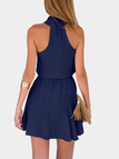 Navy Crew Neck Sleeveless Mini Dress