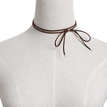 Brown Suede Silver Plated Beads Lariat Necklace