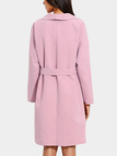 Pink Lapel Collar Tweed Trench Coat with Belt