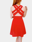 Red V Neck Fold Design Crossed Back Mini Dress