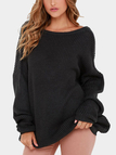 Black Sexy Round Neck Backless Long Sleeves Jumper