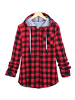 Red Paid Pattern Single Buttons Hooded Coat