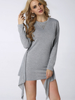 Knot Front Long Sleeves Mini Dress