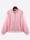 Pink Letter Pattern Jacket With Side Pockets