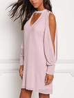 Light Purple V-neck Cold Shoulder Long Sleeves Chiffon Dress