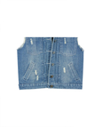 Hole Denim Gilet With Fringed Design