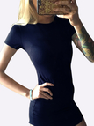 Sexy Navy Curved hem Bodycon Fit Dress With Short Sleeves