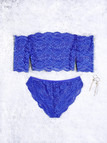 Blue Off-The-Shoulder Lace Lingerie Set