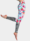 Active Random Floral Print Stripe Stitching Sports Leggings