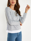 Grey Cozy Round Neck Long Sleeves Slit Side Two in One Top