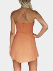Criss-Cross Hollow Front & Backless Mini Dress in Orange