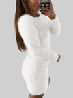 White Dyed Artificial Fur Round Neck Long Sleeves Mini Dress