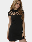 Black Sexy Hollow Details Sleeveless Casual Dress
