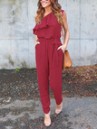 Burgundy Tiered Design One Shoulder Sleeveless Jumpsuits