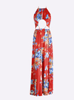 Red Halter-Neck Cutout Hollow Front Splited Random Floral Print Maxi Dress